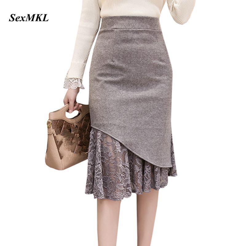 SEXMKL Faldas Mujer Moda 2019 Women High Waist Lace Patchwork Skirts Korean Streetwear Jupe Femme Midi Pencil Skirt Plus Size