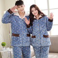 2016 New Winter Women and Men Flannel Pajamas Set Long Sleeve Long Trousers Coral Fleece Warm Pyjamas Couple Home Clothing