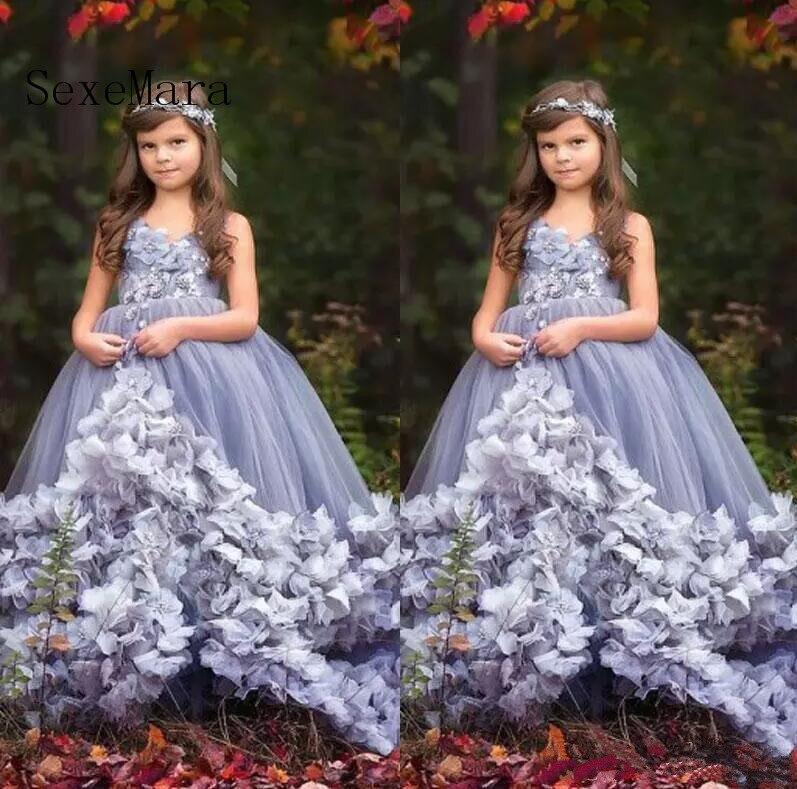 2018 девушки Нарядные платья принцессы без рукавов с v образным вырезом Аппликация 3D Цветы Многоуровневое Тюль дети Платье для девочек с цвет