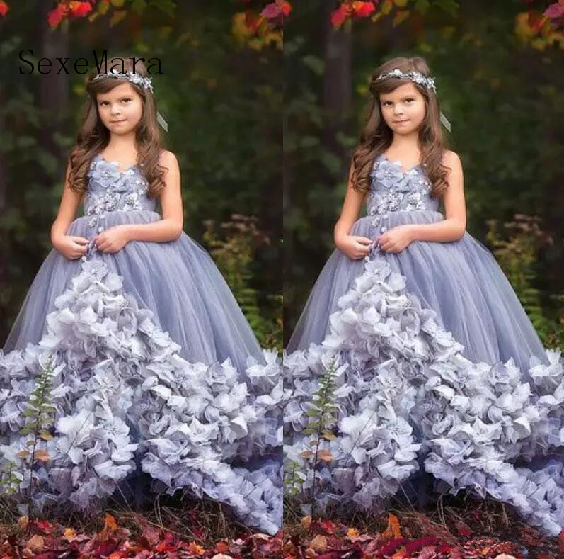 2018 Girls Pageant Dresses Princess V Neck Sleeveless Applique 3D Flowers Tiered Tulle Kids Flower Girls Dress Birthday Gown