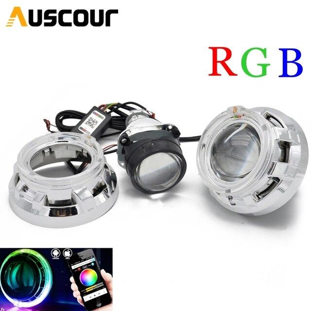 2.5 polegada mini h1 xenon Bi escondeu lente Do Projetor RGB app Bluetooth led angel eyes máscara tampa do carro de montagem para h1 h4 h7 toyota ford