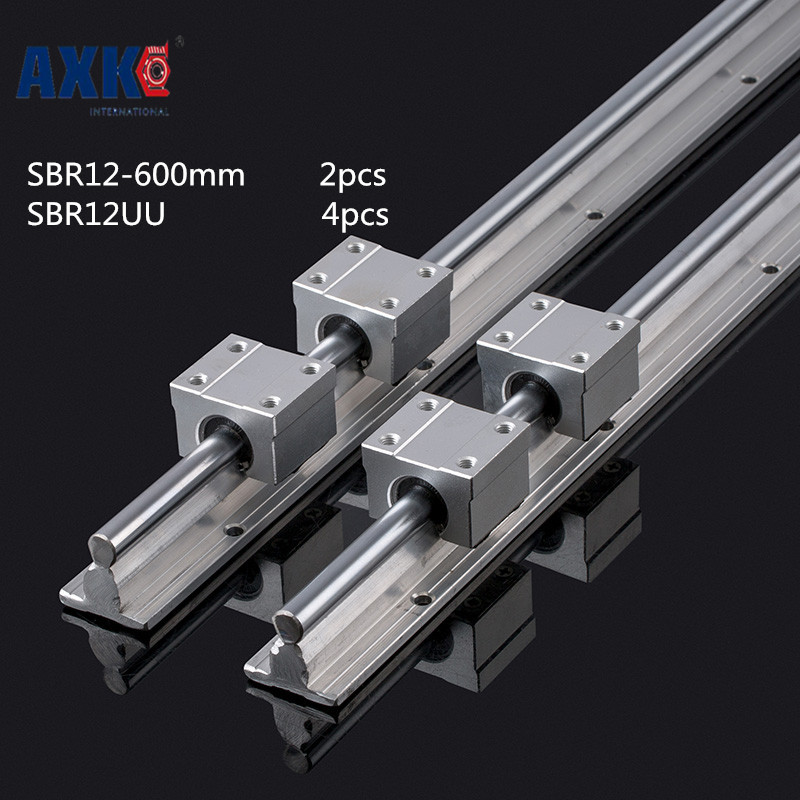 Axk 12mm Linear Rail Sbr12 L 600mm Support Rails 2 Pcs + 4 Pcs Sbr12uu Blocks For Cnc For 12mm Linear Shaft Support Rails цена