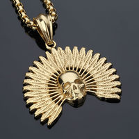 NYUK Fashion Jewelry Gold Plated Skeleton Pendant Statement Necklace Native Indian Chief Tattoo Punk Steel Necklaces