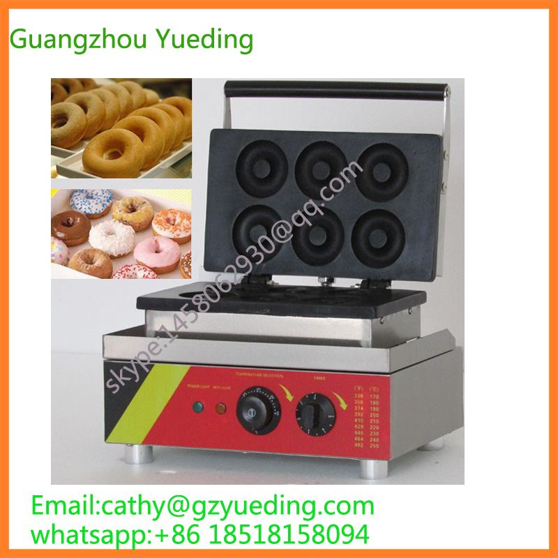 Donut waffle baking machine 6 pcs donut maker / doughnuts making machine / snack food processing machine commercial manual donut making machine maker for baking 4 mini donuts