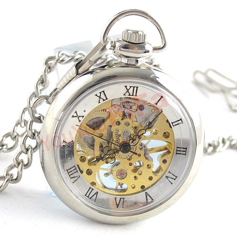Silver Hand Wind Mechanical Pocket FOB Watches with Box Steampunk Roman Numerals Pocket Watches with Chain Groom Gift