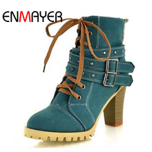 ENMAYER Fashion Women Boots Style Lace Up High Heels Boots Waterproof Platform Ankle Boots for Women Shoes New Sale Shoes Women