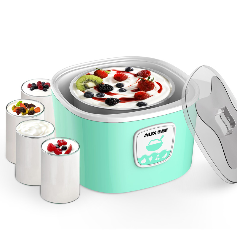 AUX Yogurt machine Household Fully automatic stainless steel Liner glass Sub-cup natto yogurt makers household fully automatic yogurt machine with glass liner timing rice wine machine 4 sub cup green