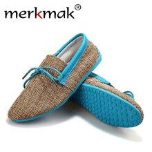 merkmak trendy casual men beach loafer shoes breathable summer weaving hemp man flats soft driving shoes mocassins