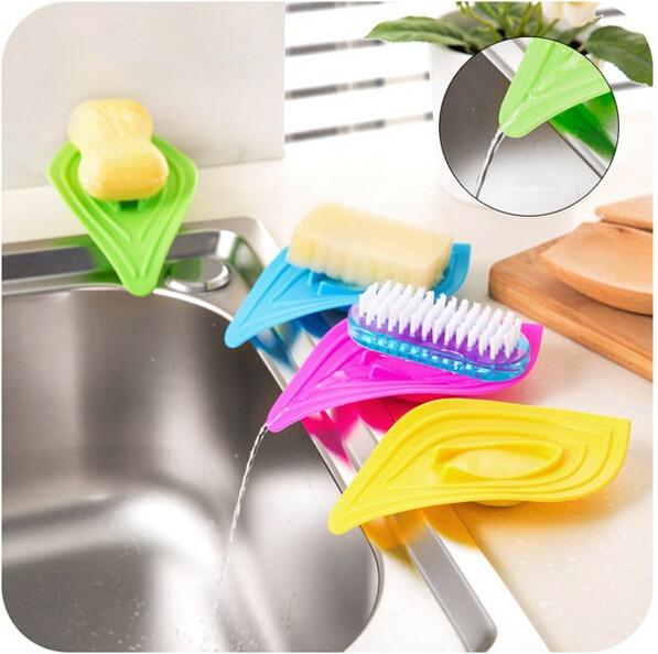 Sabun Piring Kotak Sabun Jenis Daun Skidproof Menguras Toilet Pemegang Rak Kamar Mandi Kitchen Sink Spons Rak Kotak Sabun