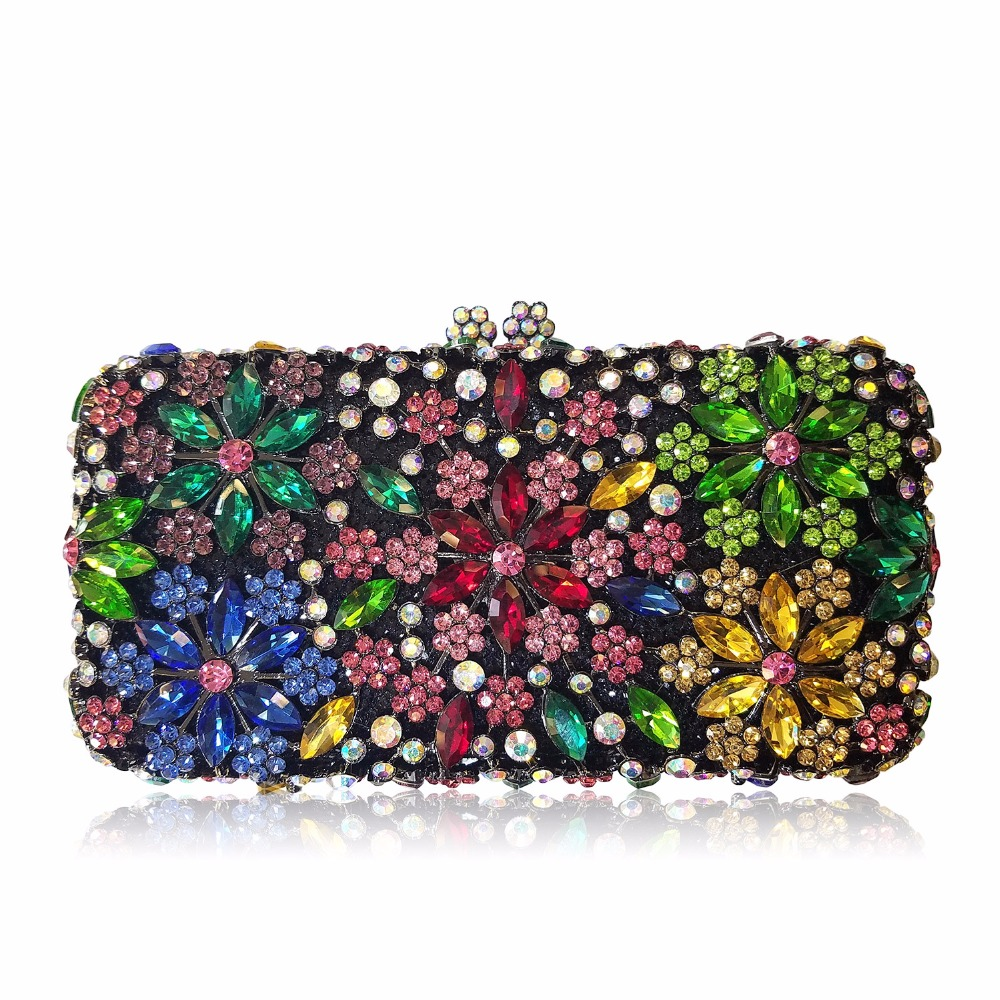 Vintage Luxury crystal clutch evening bag flower party purse women wedding bridal handbag pouch soiree pochette bag