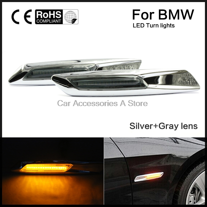 1 pair Marker Turn signal Lights Auto Car LED Fender Side Lamp Amber For BMW E81 E82 E87 E88 E90 E91 E92 E93 E60 E61 4pcs 2 red 2 amber hd led fender bed side marker lights smoked lens for dodge ram