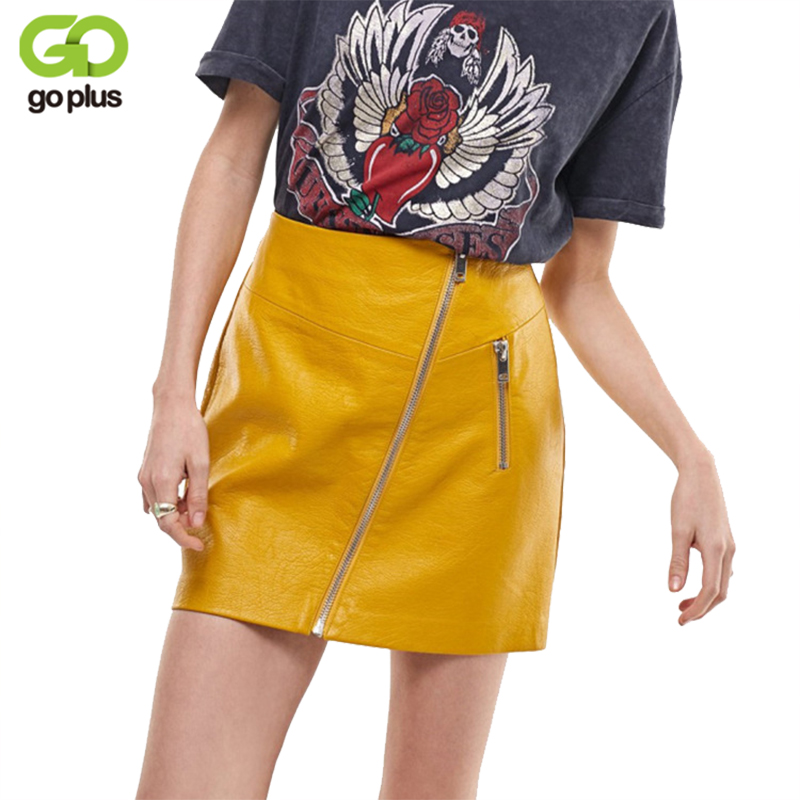 47ed47bdcf0 GOPLUS Sexy High Waist PU Leather Skirt Autumn Winter 2018 Elegant Zipper  Pocket Women Skirts Casual Yellow Slim Mini Skirt