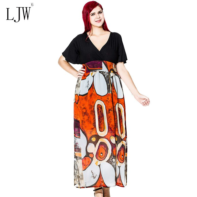 LJW Official Store 2017 New bohemian beach party dress for women summer patchwork loose short sleeve chiffon plus size sexy v-neck dresses