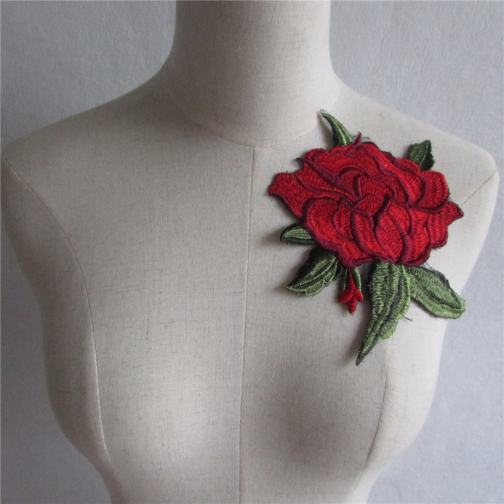 New style red Floral Applique embroidery Decorated DIY Lace Collar Fabric Sewing Applique Supplies 1pcs sell YL602