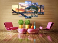 5 Piecesset Carp Jumping Painting Print Canvas Wall Art Picture For Sofa Background Decoration For Living