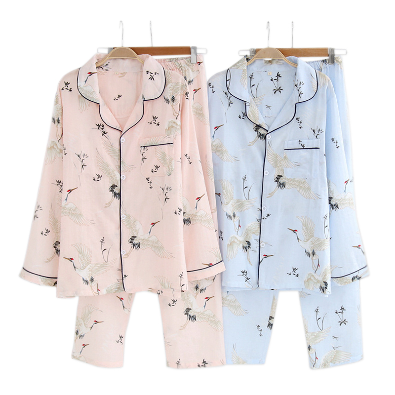 Gauze Cotton Fresh Crane Pajama Sets Women Summer Cozy Long Sleeve Casual Two Piece Pajamas Women Pyjamas Femme