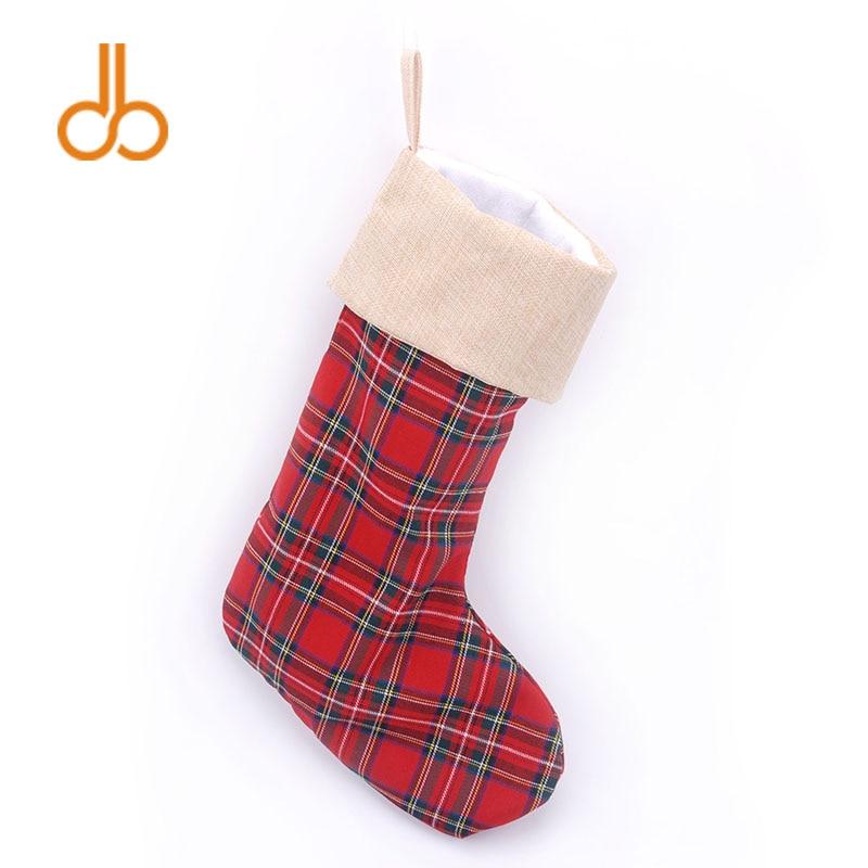 Wholesale Buffalo Christmas Stocking Plaid Xmas Stocking for Christmas Gift Holder DOM103378 brand new 1996 hallmark barbie large christmas stocking red sateen & white