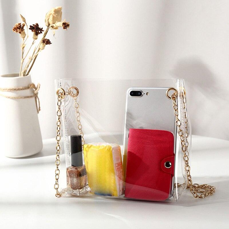 Women Composite Bags Transparent Shoulder Bag Metal Chain Magnetic Buckle PU Purse Gift LBY2018 алиэкспресс сумка прозрачная