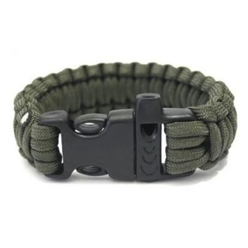 1pc 24.5cm Seven Core Outdoor Camping 550 Paracord Parachute Cord Emergency Survival Bracelet Rope With Whistle Tools