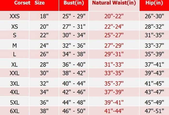 Annzley Updated Corset Size Chart 700