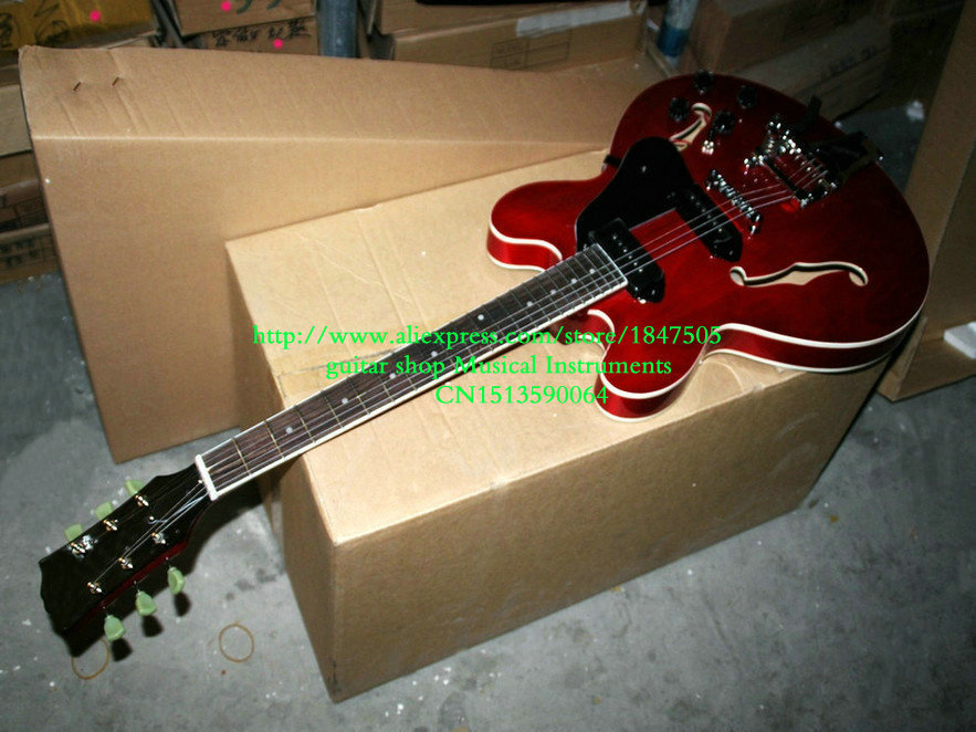 Custom Shop 335 guitar jazz Electric Guitar p90 High Quality Wholesale new arrival custom shop dave grohl electric guitar semi hollow body es 335 jazz guitar hollow electric guitar dg 335 veison