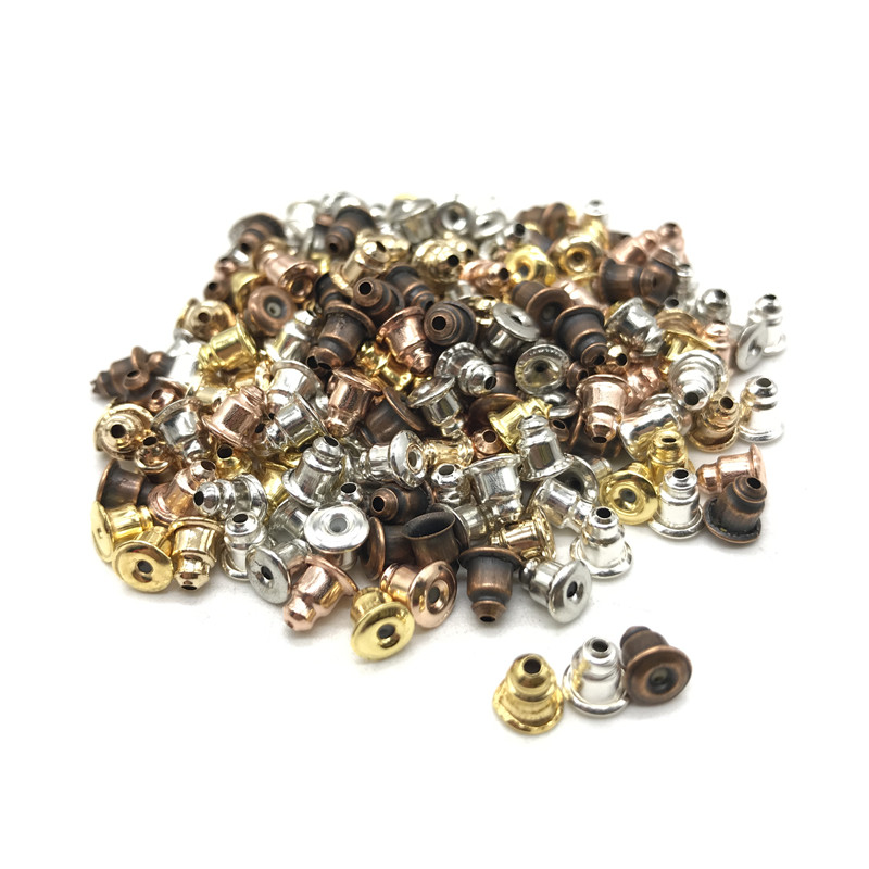 100pcs craft accessories metal earrings back earplugs, gold and silver making jewelry accessories