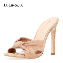 Open Toe High Heel Knotted Black Mules Womens Heeled Knot Khaki Sandals Large Size Party Dress Heels Ladies Summer Shoes 2019 society 86 womens baha 01 dress high heel