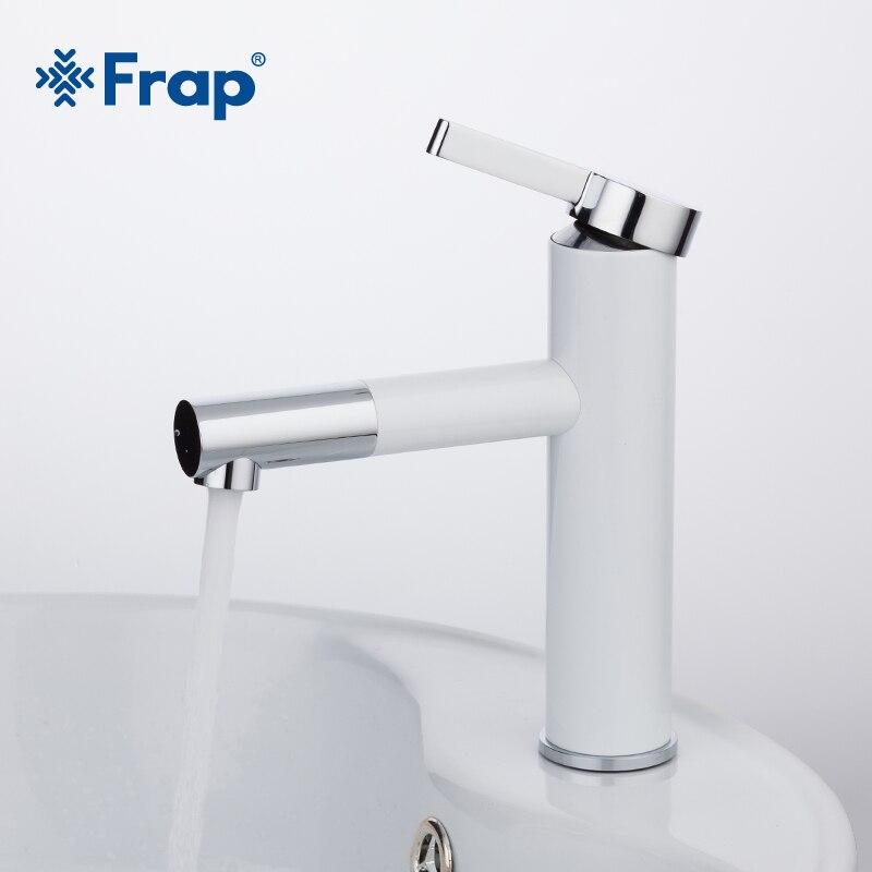 Frap Новое поступление белый спрей живописи раковины ванные комнаты кран Torneira с аэратор 360 Бесплатная вращающийся f1052-14.