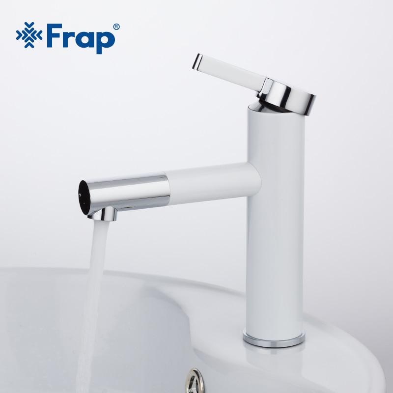 Frap New Arrival White Spray Painting Basin Taps Bathrooms Crane Torneira with Aerator 360 Free Rotating F1052-14. frap f681 зеркало коричневое тонир уп 5шт