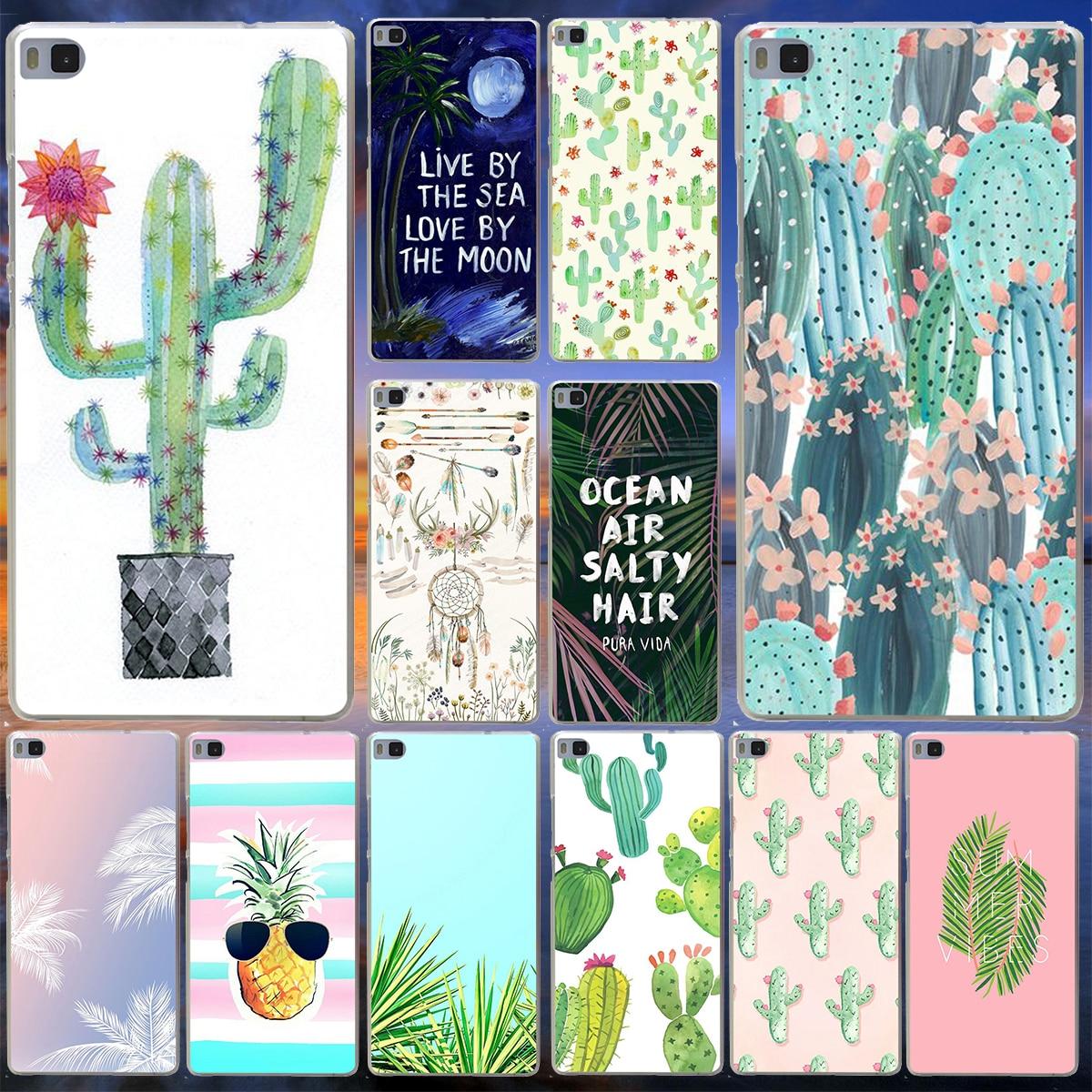 Panda Pour Coque Luxe Cactus Hard Case for Huawei P10 P9 P8 Lite P10 P9 Plus P6 P7 G7 & Honor 6 7 8 Lite 4C 4X