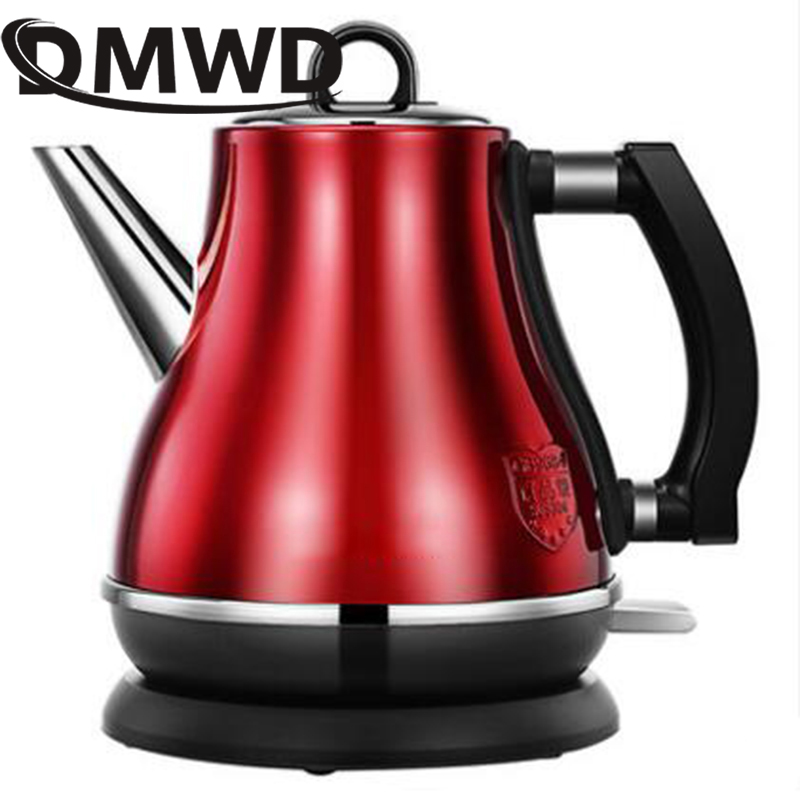 DMWD 1.2L Electric Kettle Long Spout Mouth Auto Power Off Travel Mini Stainless steel Hot Warer Boiler Tea Pot Heater Cup 1500W