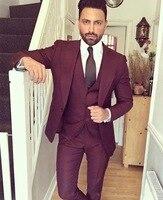 Mens Gray Black Vintage Suit Jacket 3Piece Tweed Wool Wedding Groom Tuxedos Prom Costume Homme(Jacket+Pants+Vest)