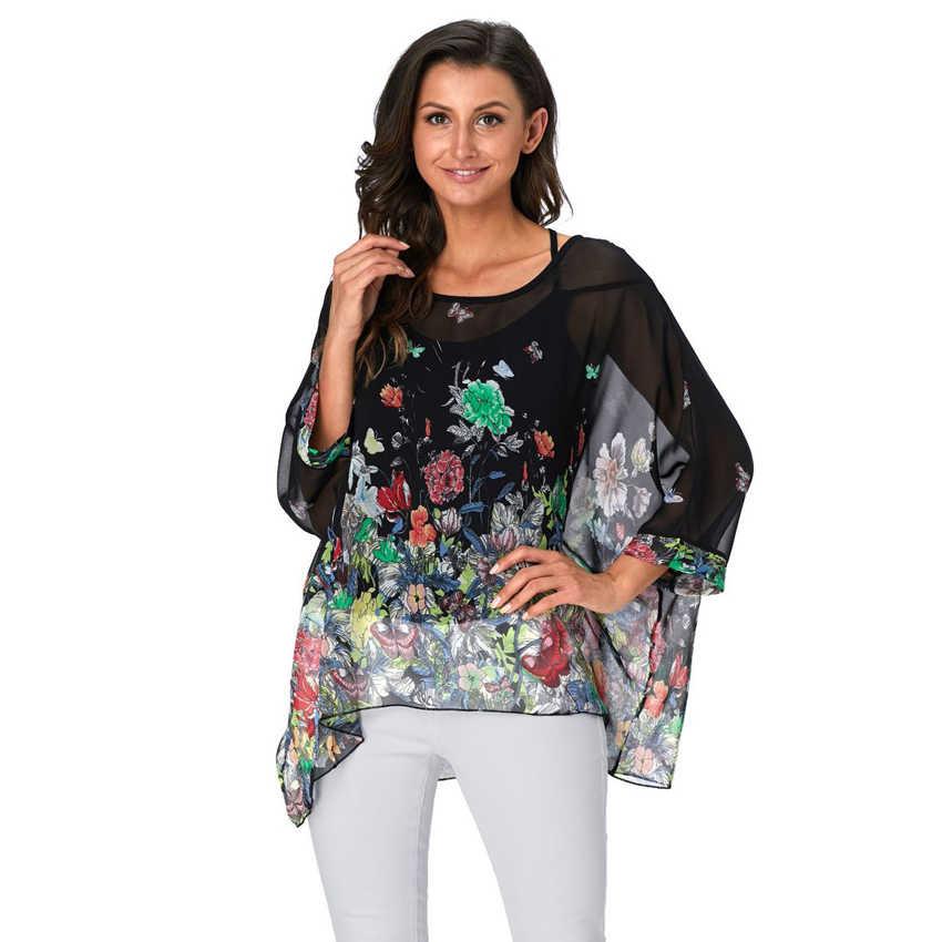 Baharcelin 5XL 6XL 夏ブラウスバットウィングスリーブカジュアルな女性ブラウスプラスサイズ印刷されたドットシフォンビーチトップ服服