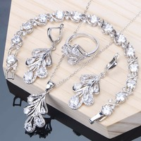New Bridal Jewelry Sets Silver 925 Jewelry For Women White Cubic Zirconia Bracelet Ring Necklace Earrings Set Wedding