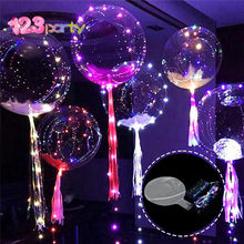 123 18 zoll Luminous Led Ballon 3 mt LED Air Ballon String Lichter Runde Blase Helium Ballons Kinder Spielzeug Hochzeit party Dekoration(China)