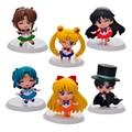 6pcs Sailor moon action figure keychain set 2016 New PVC Japaness anime sailor moon figurines figuarts  party supply decoration