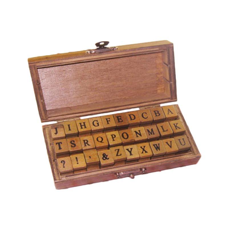 1set Romantic Handwriting Alphabet Letter Wooden Stamp Set Retro Vintage Wooden Craft Box Rubber Stamp 2 Design