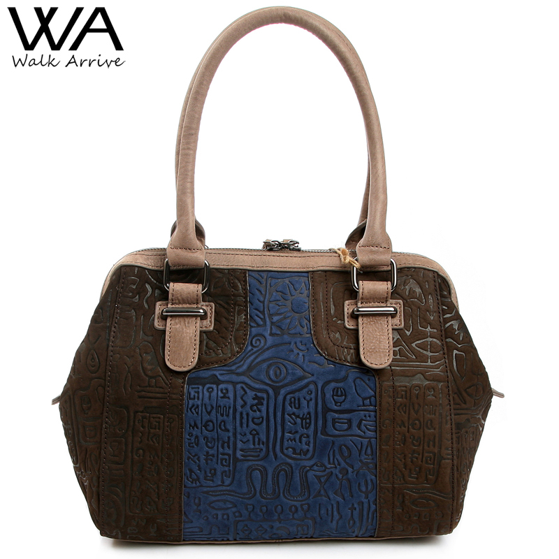Walk Arrive Genuine Leather Women Tote Bag Brand Design Oracle Embossed Leather Handbag Fashion Purse