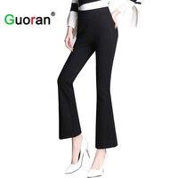 Guoran High Waist Stretch Women Slim Pants For Office Work Wear Black Skinny Wide Leg