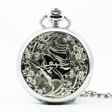 Mechanical Hand Wind Silver Pocket Watch Steampunk Roman Numbers Steel Fob Watches PJX1247