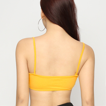 Sweetown Elastic Letter Printed Cami Crop Top Yellow Spaghetti Strap Vest Summer Women Sexy Top Vest Short Bandeau Tee Shirt