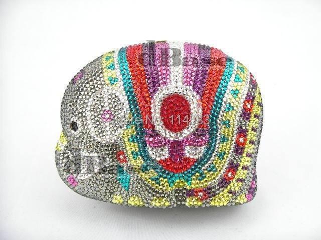 ФОТО ELEPHANT color-TB Crystal Animal Wedding Bridal Metal Evening purse clutch bag handbag
