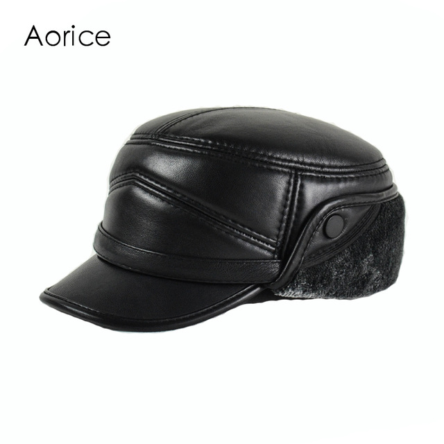 Aorice Genuine Leather Baseball Cap Visor Hat Men s Brand Sheepskin Leather  Army Hats Caps Black with Faux Fur Inside HL162-F 2782d575fe6