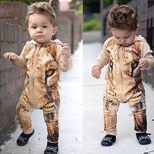 Kids Baby Boys Warm Infant Long Sleeve Hooded Jumpsuit Bodysuit Clothes