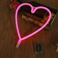 Waterproof LED Loving Heart Neon Sign Light Night Lamp W Battery Box Wedding Xmas Party Decor