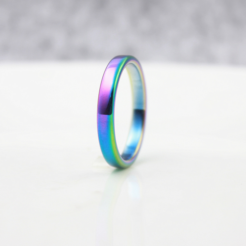 SexaMara Fashion Jewelry Grade AAA Quality 4mm Width Flat Rainbow Color Hematite Rings Woman Girl  Best Friend (1 Piece) HR1012