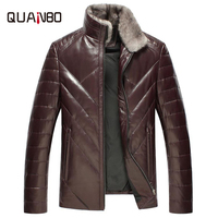 Natural sheepskin leather jacket men real mink fur stand collar Sheepskin leather leather fashion white duck down coats outerw