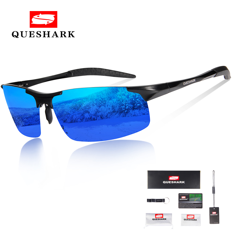 Queshark Magnesium Aluminum Cycling Sunglasses Men Polarized Sport Cycling Glasses Driving Hiking Skiing Glasses Fishing Eyewear