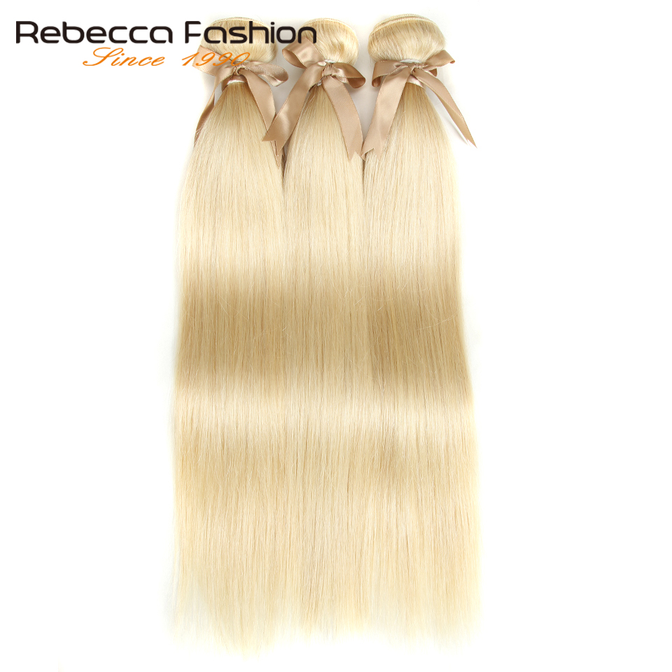 Image 3 - Rebecca 613 Blonde Bundles With Frontal Human Hair Bundles Blonde Malaysian Straight Hair 3 Bundles With Frontal Closure-in 3/4 Bundles with Closure from Hair Extensions & Wigs