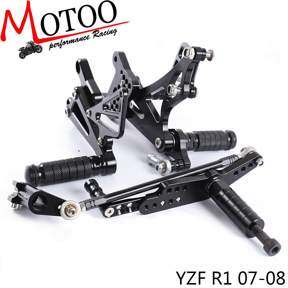 Motoo Full CNC aluminum Motorcycle Rearset Rear Set For YAMAHA YZF R1 2007 2008